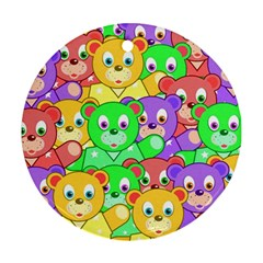 Cute Cartoon Crowd Of Colourful Kids Bears Round Ornament (two Sides) by Nexatart