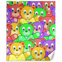 Cute Cartoon Crowd Of Colourful Kids Bears Canvas 16  X 20   by Nexatart