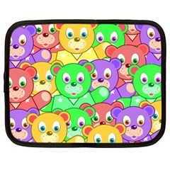 Cute Cartoon Crowd Of Colourful Kids Bears Netbook Case (xl)  by Nexatart