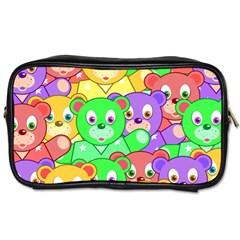 Cute Cartoon Crowd Of Colourful Kids Bears Toiletries Bags