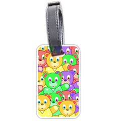 Cute Cartoon Crowd Of Colourful Kids Bears Luggage Tags (one Side)