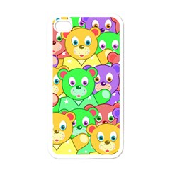 Cute Cartoon Crowd Of Colourful Kids Bears Apple Iphone 4 Case (white)