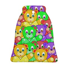 Cute Cartoon Crowd Of Colourful Kids Bears Ornament (bell) by Nexatart