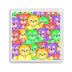 Cute Cartoon Crowd Of Colourful Kids Bears Memory Card Reader (square)  by Nexatart