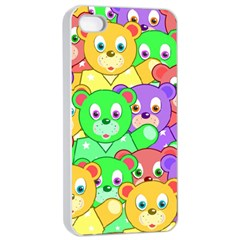 Cute Cartoon Crowd Of Colourful Kids Bears Apple Iphone 4/4s Seamless Case (white)
