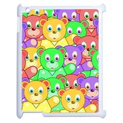Cute Cartoon Crowd Of Colourful Kids Bears Apple Ipad 2 Case (white) by Nexatart