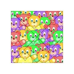 Cute Cartoon Crowd Of Colourful Kids Bears Acrylic Tangram Puzzle (4  X 4 ) by Nexatart