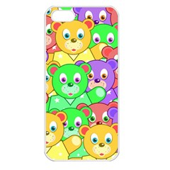 Cute Cartoon Crowd Of Colourful Kids Bears Apple Iphone 5 Seamless Case (white) by Nexatart