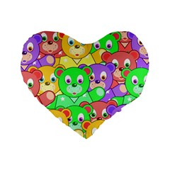 Cute Cartoon Crowd Of Colourful Kids Bears Standard 16  Premium Heart Shape Cushions by Nexatart
