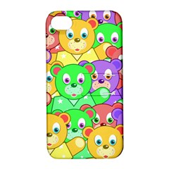 Cute Cartoon Crowd Of Colourful Kids Bears Apple Iphone 4/4s Hardshell Case With Stand by Nexatart