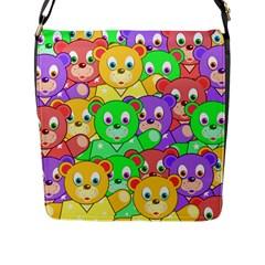 Cute Cartoon Crowd Of Colourful Kids Bears Flap Messenger Bag (l)