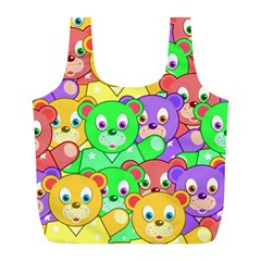 Cute Cartoon Crowd Of Colourful Kids Bears Full Print Recycle Bags (l)