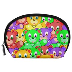 Cute Cartoon Crowd Of Colourful Kids Bears Accessory Pouches (large)  by Nexatart