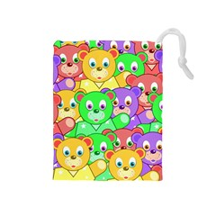 Cute Cartoon Crowd Of Colourful Kids Bears Drawstring Pouches (medium)