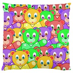Cute Cartoon Crowd Of Colourful Kids Bears Large Flano Cushion Case (one Side) by Nexatart