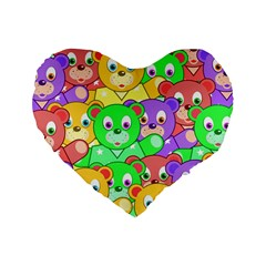 Cute Cartoon Crowd Of Colourful Kids Bears Standard 16  Premium Flano Heart Shape Cushions by Nexatart