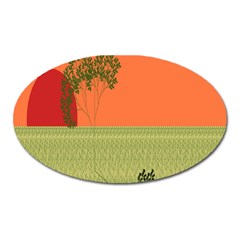 Sunset Orange Green Tree Sun Red Polka Oval Magnet by Mariart