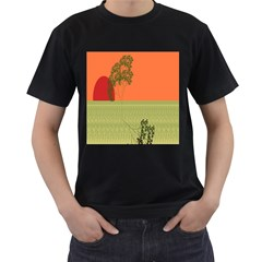 Sunset Orange Green Tree Sun Red Polka Men s T Shirt (black) (two Sided) by Mariart