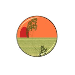 Sunset Orange Green Tree Sun Red Polka Hat Clip Ball Marker by Mariart