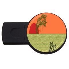 Sunset Orange Green Tree Sun Red Polka Usb Flash Drive Round (4 Gb) by Mariart