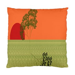 Sunset Orange Green Tree Sun Red Polka Standard Cushion Case (two Sides) by Mariart