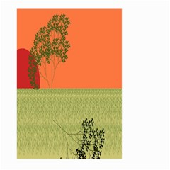 Sunset Orange Green Tree Sun Red Polka Large Garden Flag (two Sides) by Mariart