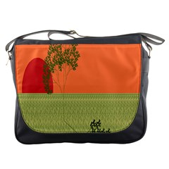 Sunset Orange Green Tree Sun Red Polka Messenger Bags by Mariart