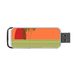 Sunset Orange Green Tree Sun Red Polka Portable Usb Flash (one Side) by Mariart