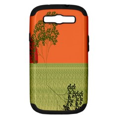 Sunset Orange Green Tree Sun Red Polka Samsung Galaxy S Iii Hardshell Case (pc+silicone) by Mariart