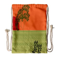 Sunset Orange Green Tree Sun Red Polka Drawstring Bag (large) by Mariart
