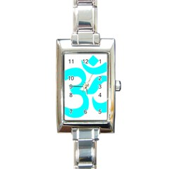 Hindu Om Symbol (cyan) Rectangle Italian Charm Watch by abbeyz71