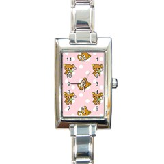 Kawaii Bear Pattern Rectangle Italian Charm Watch