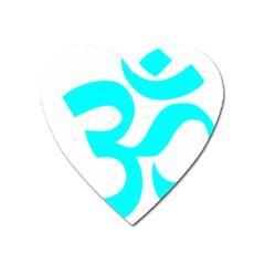 Hindu Om Symbol (cyan) Heart Magnet by abbeyz71