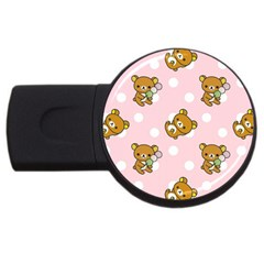 Kawaii Bear Pattern Usb Flash Drive Round (4 Gb) by Nexatart