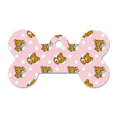Kawaii Bear Pattern Dog Tag Bone (two Sides) by Nexatart