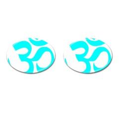 Hindu Om Symbol (cyan) Cufflinks (oval) by abbeyz71