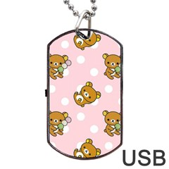 Kawaii Bear Pattern Dog Tag Usb Flash (two Sides)