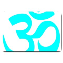 Hindu Om Symbol (cyan) Large Doormat  by abbeyz71