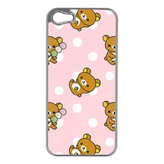 Kawaii Bear Pattern Apple Iphone 5 Case (silver) by Nexatart