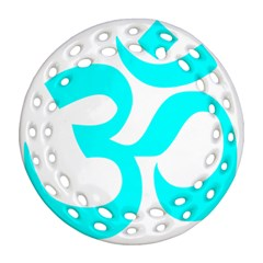 Hindu Om Symbol (cyan) Round Filigree Ornament (two Sides) by abbeyz71