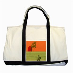 Sunset Orange Green Tree Sun Red Polka Two Tone Tote Bag by Mariart