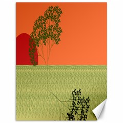 Sunset Orange Green Tree Sun Red Polka Canvas 12  X 16   by Mariart