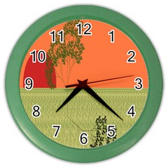 Sunset Orange Green Tree Sun Red Polka Color Wall Clocks by Mariart