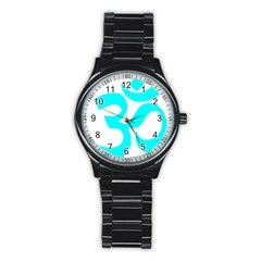 Hindu Om Symbol (cyan) Stainless Steel Round Watch by abbeyz71