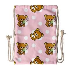 Kawaii Bear Pattern Drawstring Bag (large) by Nexatart