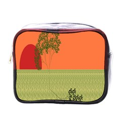 Sunset Orange Green Tree Sun Red Polka Mini Toiletries Bags by Mariart