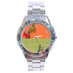 Sunset Orange Green Tree Sun Red Polka Stainless Steel Analogue Watch by Mariart