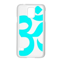 Hindu Om Symbol (cyan) Samsung Galaxy S5 Case (white) by abbeyz71