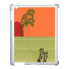 Sunset Orange Green Tree Sun Red Polka Apple Ipad 3/4 Case (white) by Mariart