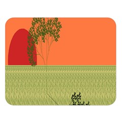 Sunset Orange Green Tree Sun Red Polka Double Sided Flano Blanket (large)  by Mariart